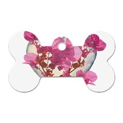 Heart Shaped With Flowers Digital Collage Dog Tag Bone (two Sided)