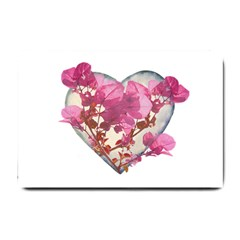 Heart Shaped With Flowers Digital Collage Small Door Mat