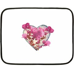 Heart Shaped with Flowers Digital Collage Mini Fleece Blanket (Two Sided)