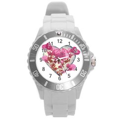 Heart Shaped with Flowers Digital Collage Plastic Sport Watch (Large)