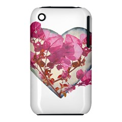 Heart Shaped With Flowers Digital Collage Apple Iphone 3g/3gs Hardshell Case (pc+silicone)