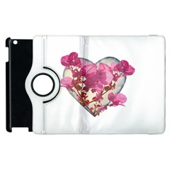 Heart Shaped with Flowers Digital Collage Apple iPad 3/4 Flip 360 Case