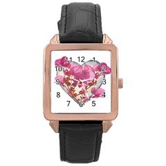 Heart Shaped With Flowers Digital Collage Rose Gold Leather Watch