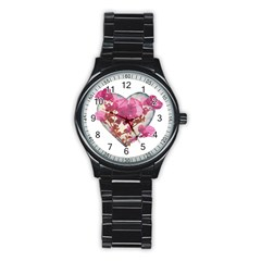 Heart Shaped With Flowers Digital Collage Sport Metal Watch (black)