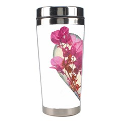 Heart Shaped with Flowers Digital Collage Stainless Steel Travel Tumbler