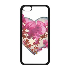 Heart Shaped with Flowers Digital Collage Apple iPhone 5C Seamless Case (Black)