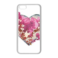 Heart Shaped with Flowers Digital Collage Apple iPhone 5C Seamless Case (White)