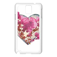 Heart Shaped with Flowers Digital Collage Samsung Galaxy Note 3 N9005 Case (White)