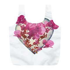 Heart Shaped With Flowers Digital Collage Reusable Bag (l)