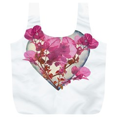 Heart Shaped with Flowers Digital Collage Reusable Bag (XL)