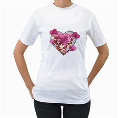 Heart Shaped With Flowers Digital Collage Women s T Shirt (white)