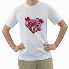 Heart Shaped With Flowers Digital Collage Men s T Shirt (white)