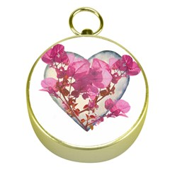 Heart Shaped With Flowers Digital Collage Gold Compass