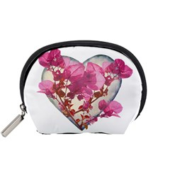Heart Shaped With Flowers Digital Collage Accessory Pouch (small)