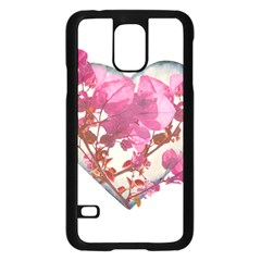 Heart Shaped With Flowers Digital Collage Samsung Galaxy S5 Case (black)