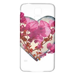Heart Shaped with Flowers Digital Collage Samsung Galaxy S5 Back Case (White)