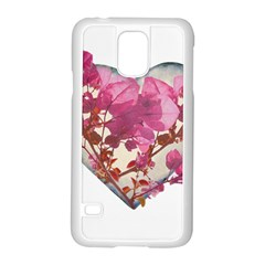 Heart Shaped with Flowers Digital Collage Samsung Galaxy S5 Case (White)