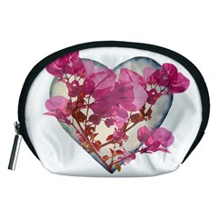Heart Shaped With Flowers Digital Collage Accessory Pouch (medium)