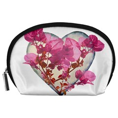 Heart Shaped with Flowers Digital Collage Accessory Pouch (Large)