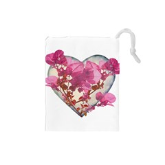 Heart Shaped with Flowers Digital Collage Drawstring Pouch (Small)