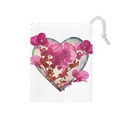 Heart Shaped with Flowers Digital Collage Drawstring Pouch (Medium)