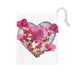 Heart Shaped With Flowers Digital Collage Drawstring Pouch (large)