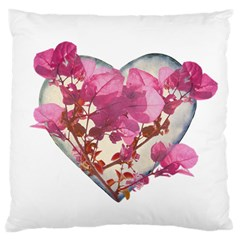 Heart Shaped with Flowers Digital Collage Large Flano Cushion Case (Two Sides)
