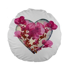 Heart Shaped with Flowers Digital Collage 15  Premium Flano Round Cushion