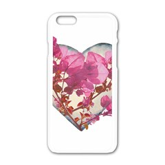 Heart Shaped with Flowers Digital Collage Apple iPhone 6 White Enamel Case