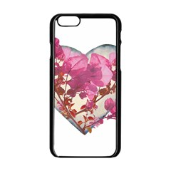 Heart Shaped with Flowers Digital Collage Apple iPhone 6 Black Enamel Case