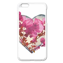 Heart Shaped with Flowers Digital Collage Apple iPhone 6 Plus Enamel White Case