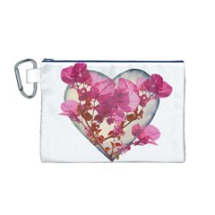 Heart Shaped with Flowers Digital Collage Canvas Cosmetic Bag (Medium)