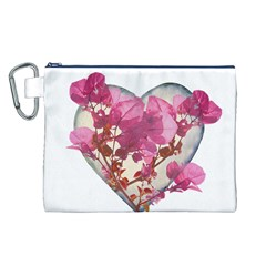 Heart Shaped With Flowers Digital Collage Canvas Cosmetic Bag (large)