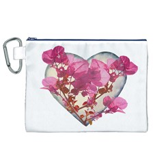 Heart Shaped with Flowers Digital Collage Canvas Cosmetic Bag (XL)