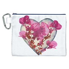 Heart Shaped with Flowers Digital Collage Canvas Cosmetic Bag (XXL)