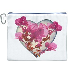 Heart Shaped with Flowers Digital Collage Canvas Cosmetic Bag (XXXL)