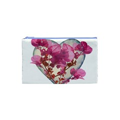 Heart Shaped with Flowers Digital Collage Cosmetic Bag (XS)
