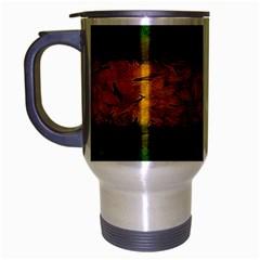 Tribal Floral Pattern Travel Mug (Silver Gray)