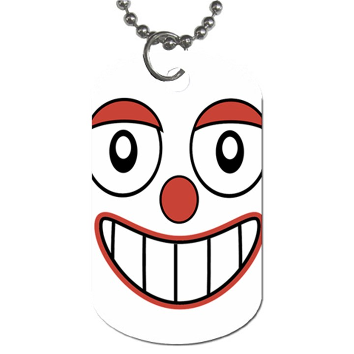 Happy Clown Cartoon Drawing Dog Tag (Two-sided)