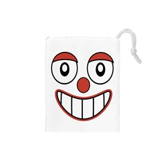 Happy Clown Cartoon Drawing Drawstring Pouch (small)