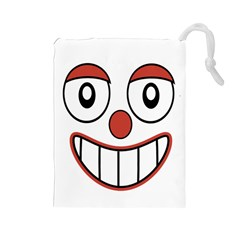 Happy Clown Cartoon Drawing Drawstring Pouch (large)