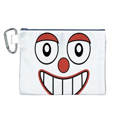 Happy Clown Cartoon Drawing Canvas Cosmetic Bag (Large)