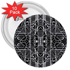 Black And White Tribal Geometric Pattern Print 3  Button (10 Pack)