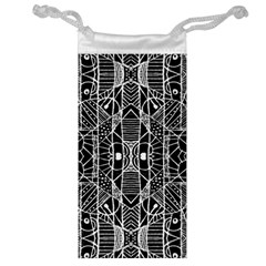 Black And White Tribal Geometric Pattern Print Jewelry Bag