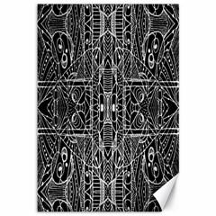 Black And White Tribal Geometric Pattern Print Canvas 12  X 18  (unframed)