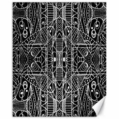 Black and White Tribal Geometric Pattern Print Canvas 16  x 20  (Unframed)