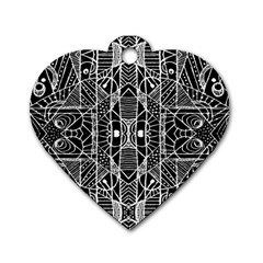 Black and White Tribal Geometric Pattern Print Dog Tag Heart (Two Sided)
