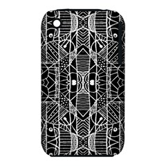 Black and White Tribal Geometric Pattern Print Apple iPhone 3G/3GS Hardshell Case (PC+Silicone)