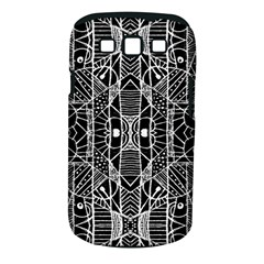 Black and White Tribal Geometric Pattern Print Samsung Galaxy S III Classic Hardshell Case (PC+Silicone)
