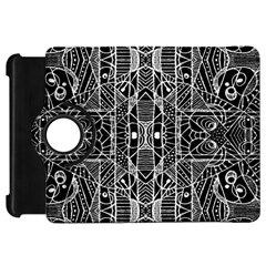 Black and White Tribal Geometric Pattern Print Kindle Fire HD Flip 360 Case